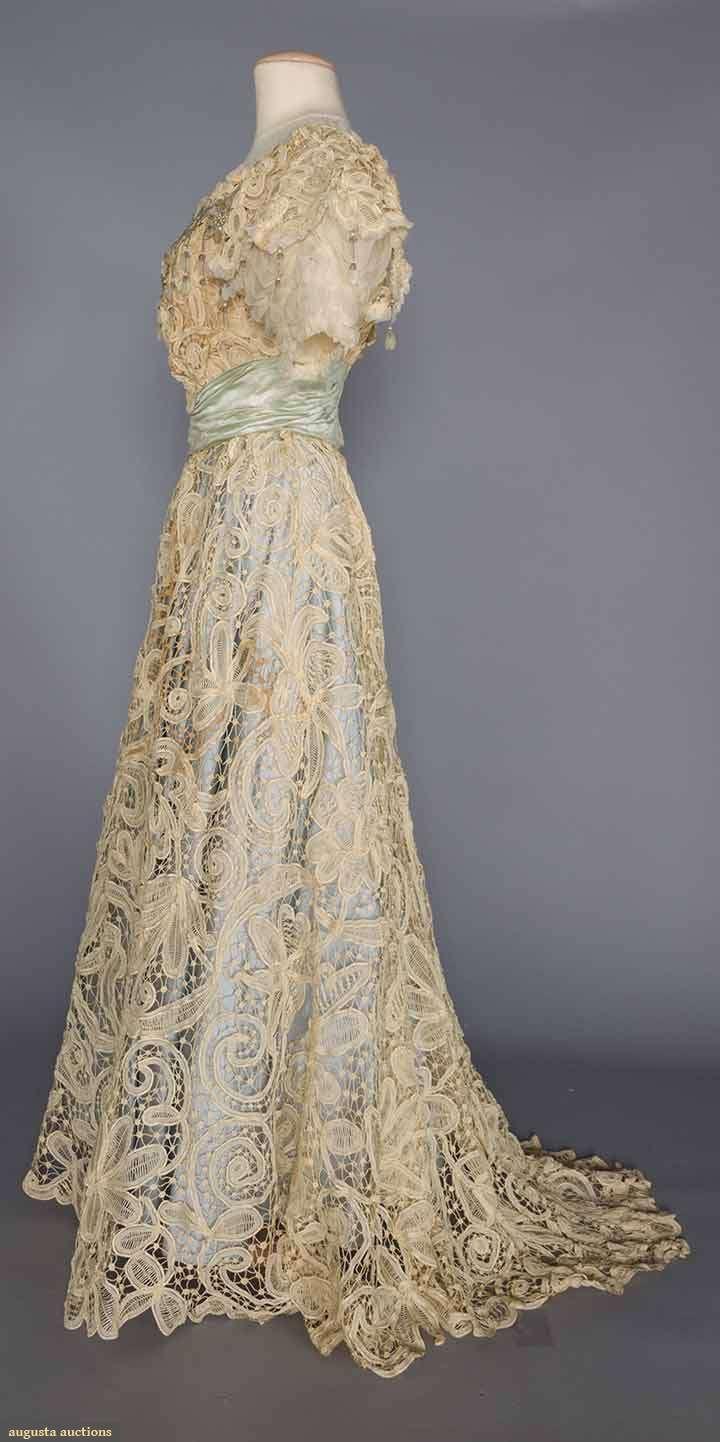 Sequinned battenburg lace gown c edwardian