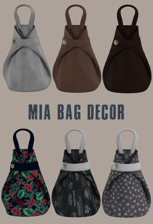 MIA BAG DECOR Sims 4, Sims 4 custom content, Bags