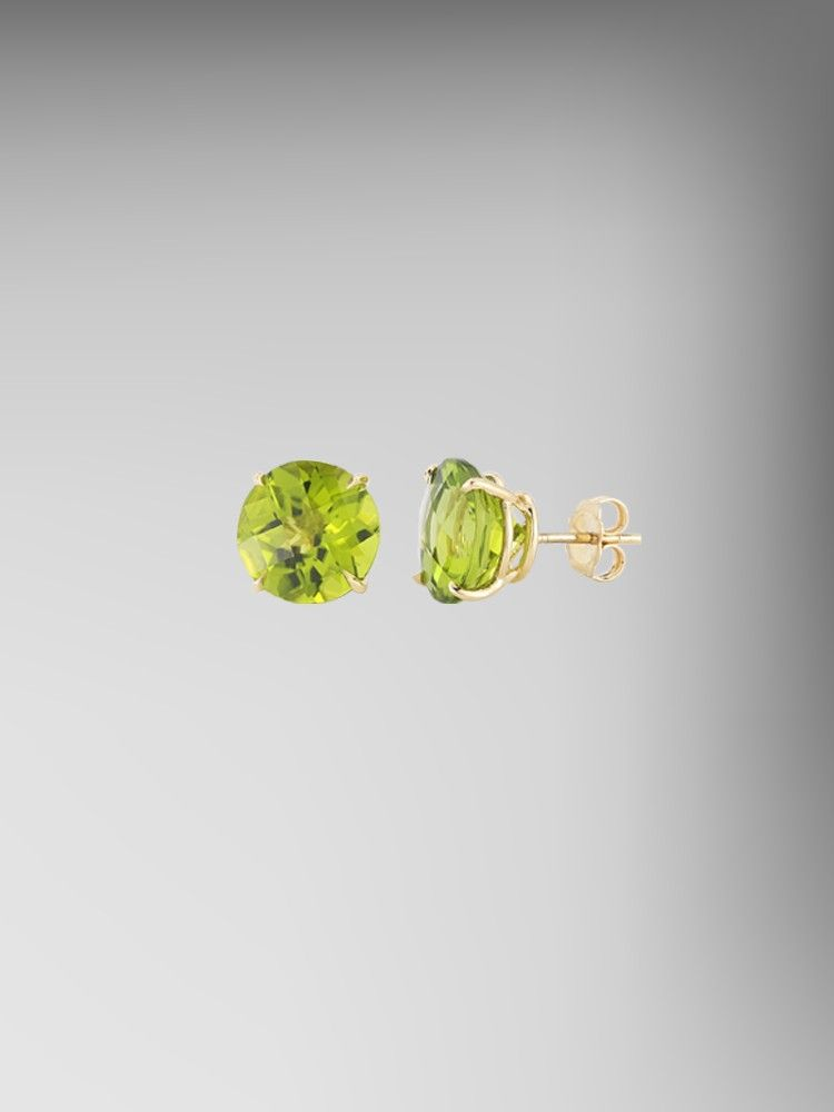 Peridot 11mm Round Studs set in 18kt Gold by Paolo Costagli