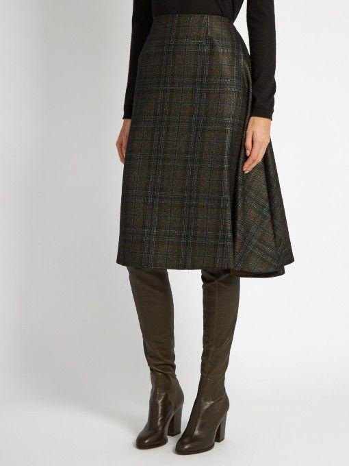 2172850136 Maison Margiela Plaid wool-blend skirt   pleated skirt   Plaid wool ...
