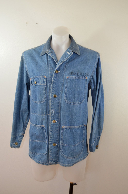 Vintage Sears Denim Chore Jacket Coat 1950 39 S Farm Work Wear Chore Jacket How To Wear Work Wear