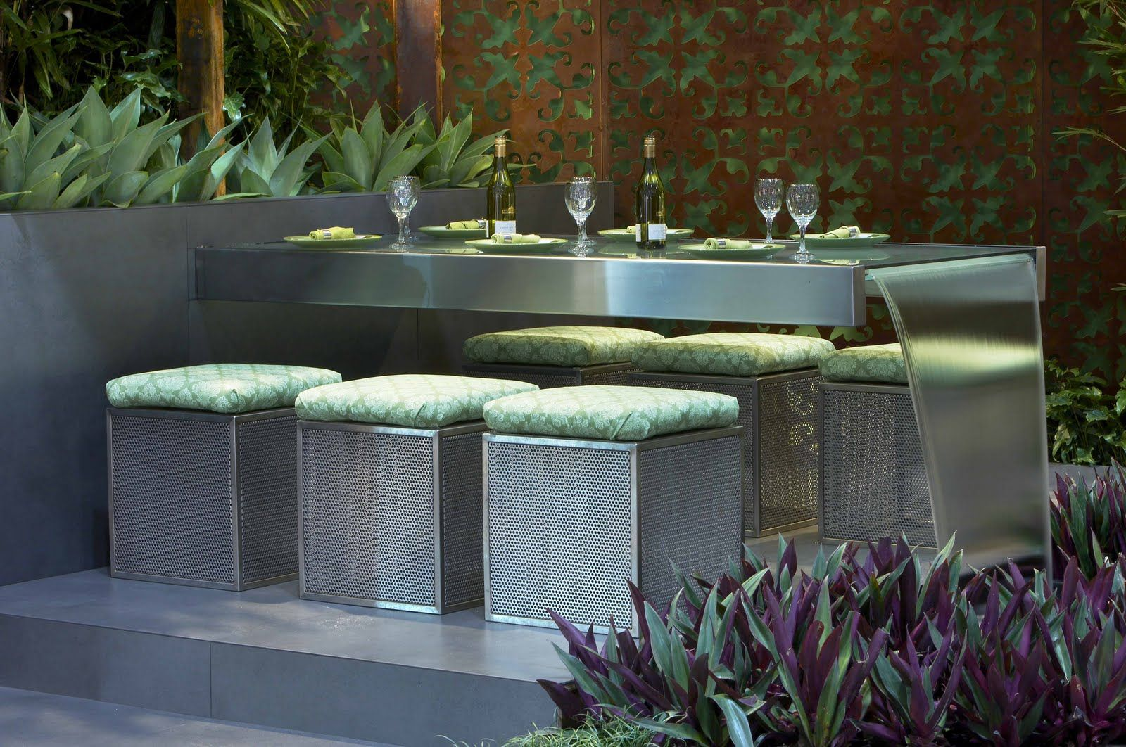 glass table water feature combined exterior landscaping
