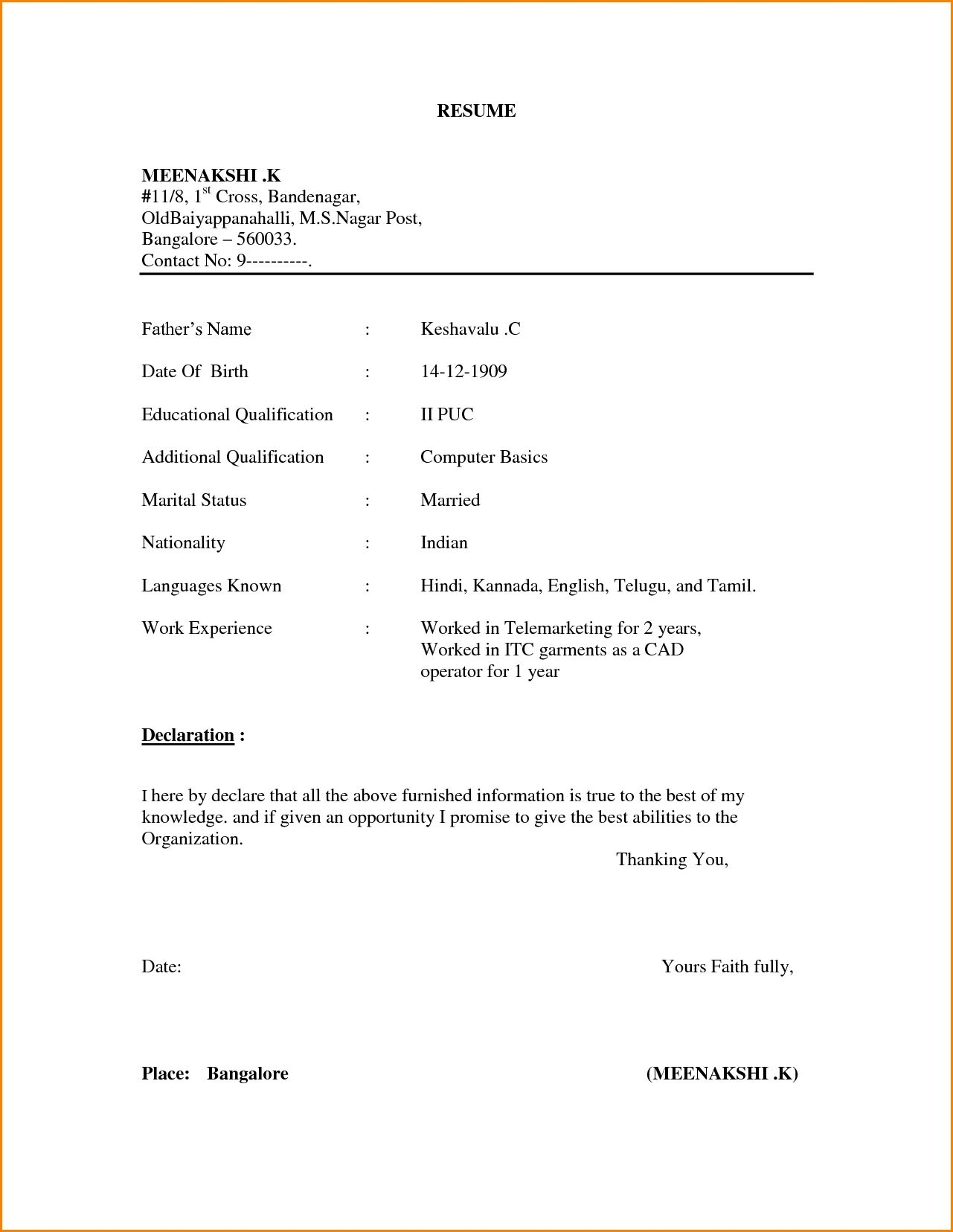 example simple resume format expense report template inside basic