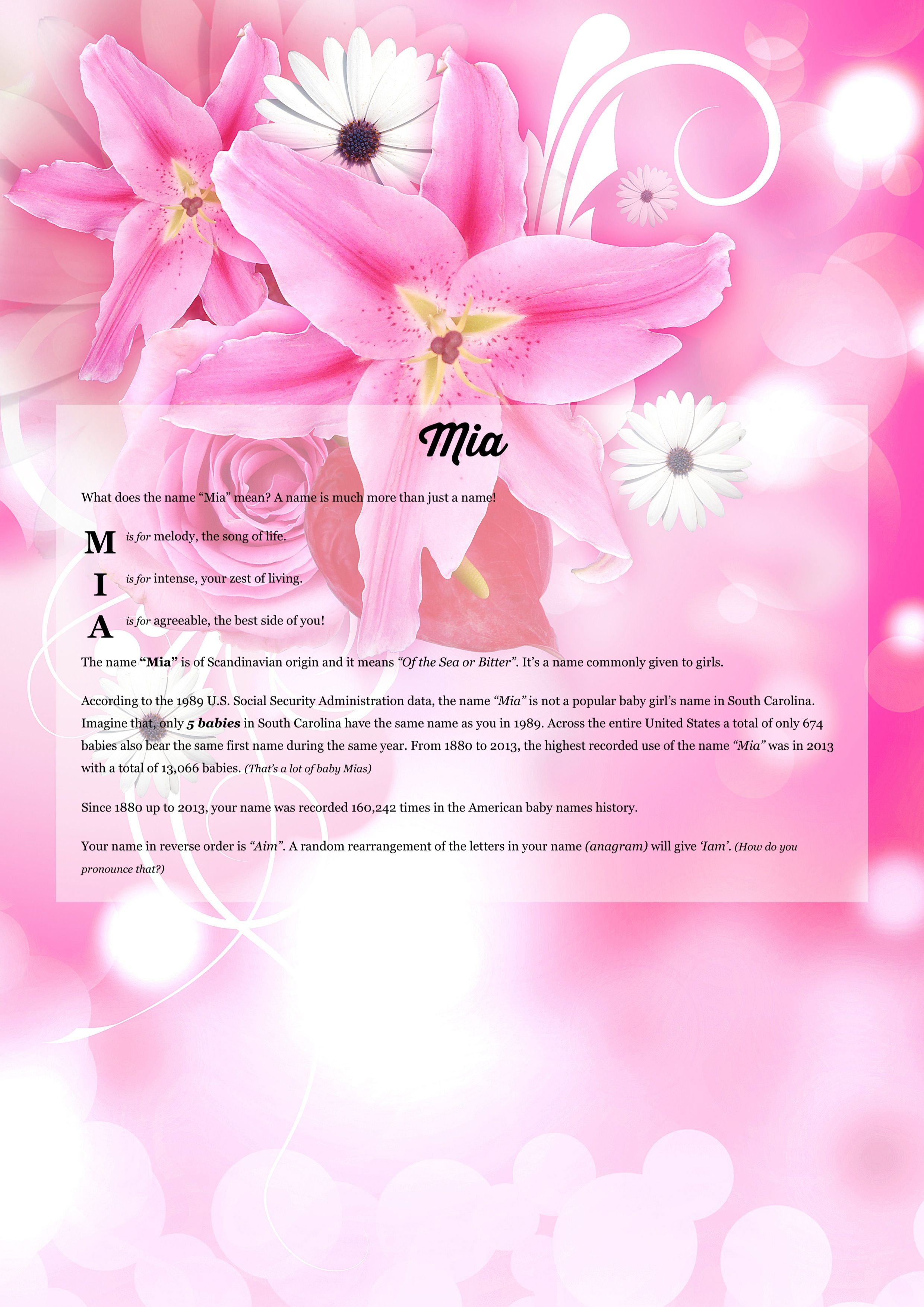Mia namemeaning fav pinterest background images the of using lily rose from the project pack flowers izmirmasajfo Image collections