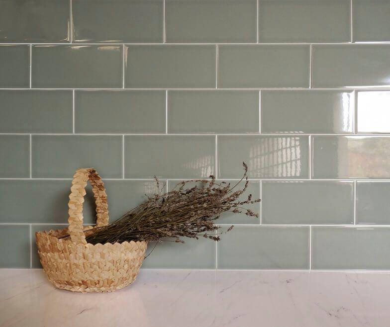 green subway tile splashback tiles