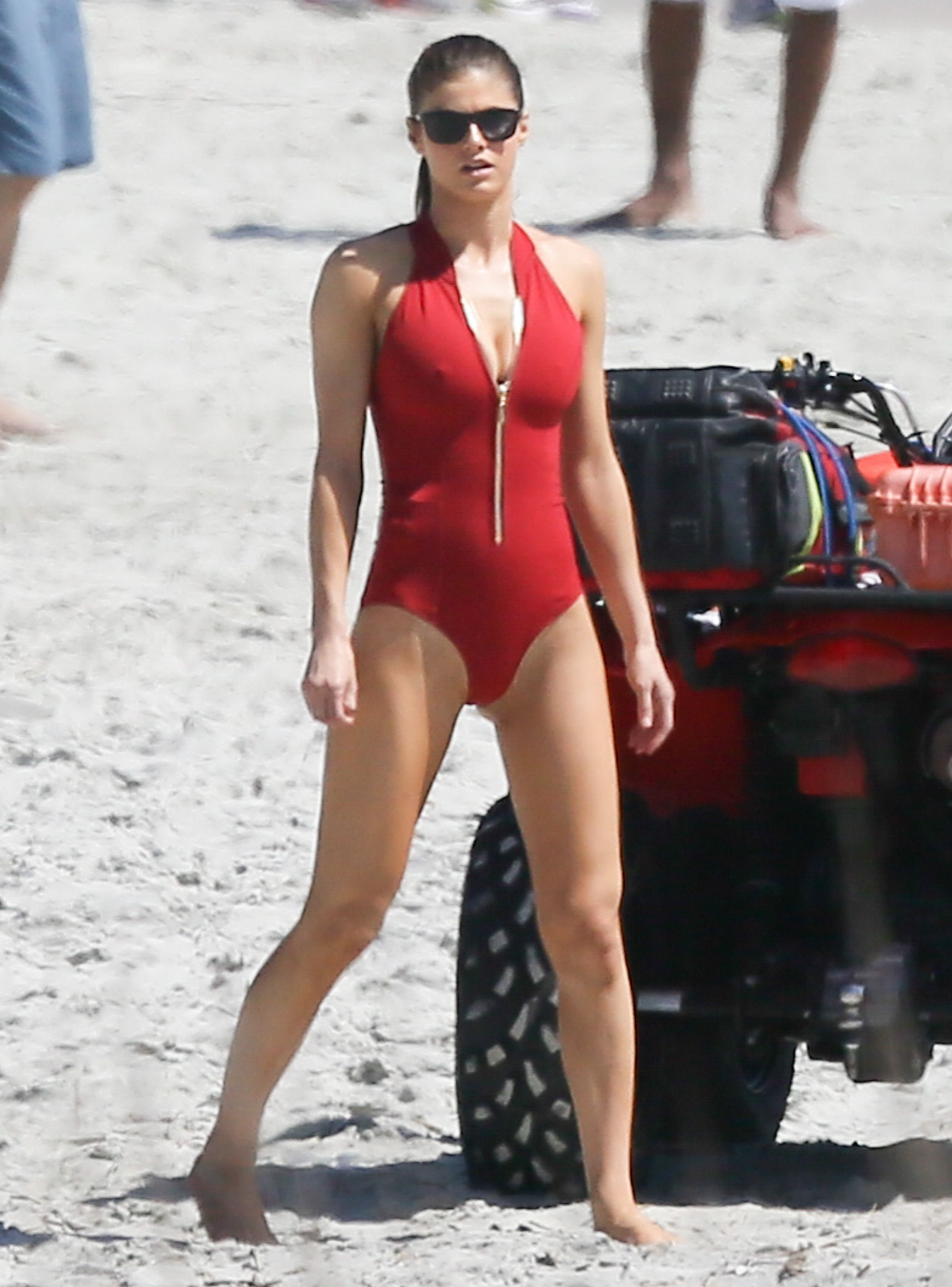 Alexandra Daddario In Red One Piece Bikini Alexandra Daddario