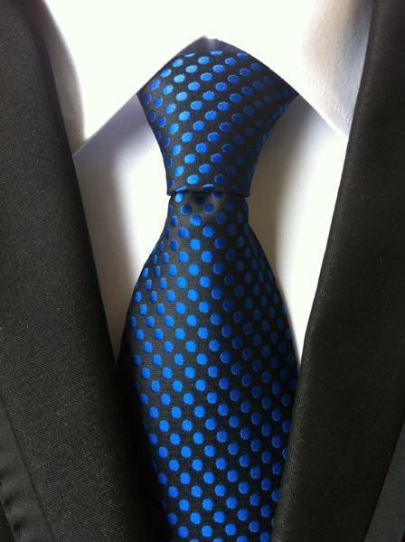 New Classic Polka Dot White Dark Blue JACQUARD WOVEN 100/% Silk Men/'s Tie Necktie