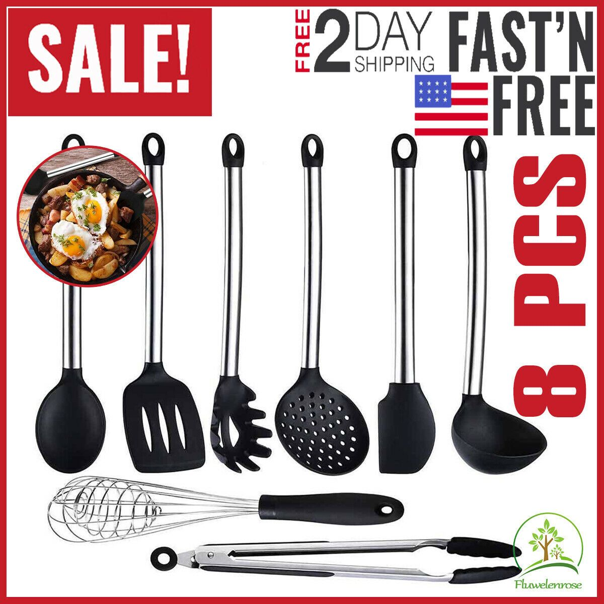 8pcs Silicone Cooking Utensils Set Kitchen Nonstick Cookware