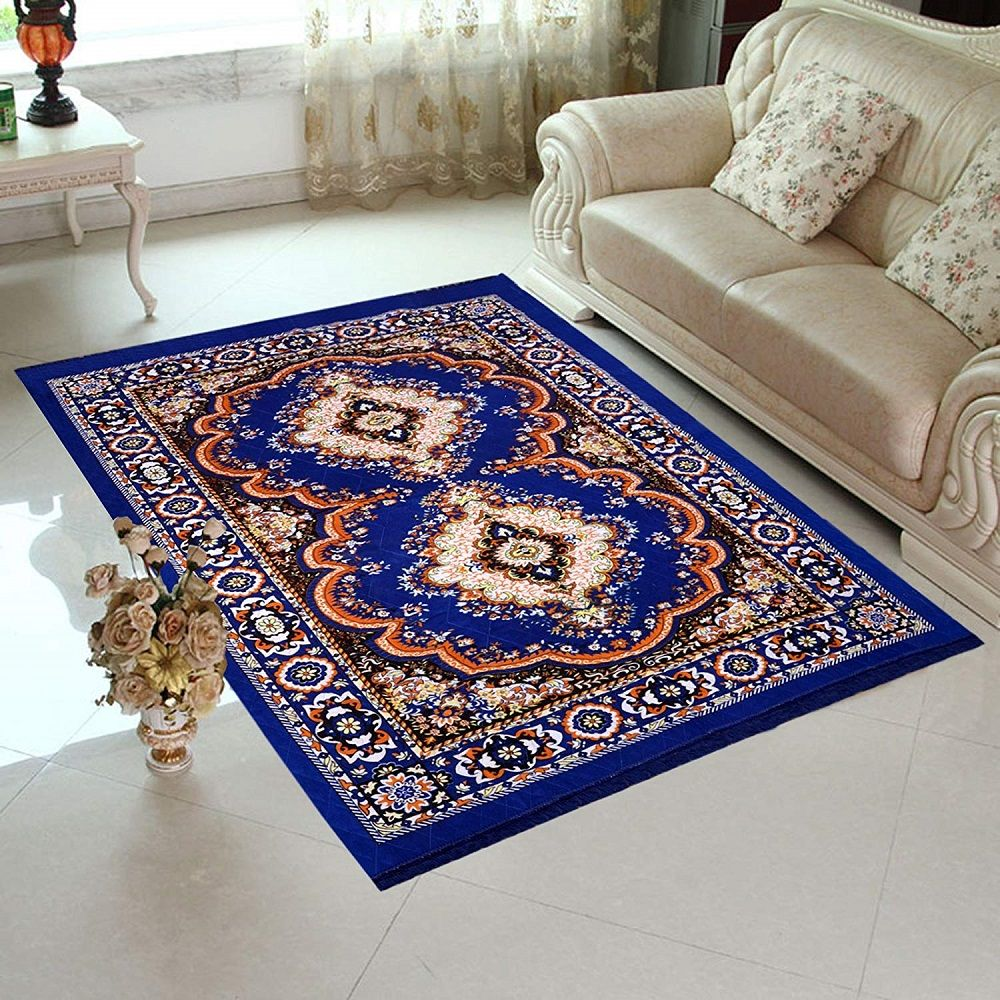 Traditional Design Jute Filling Blue Colored Sheet Carpet 5 X 7 Feet Home Elite Available At Best Price In India Traditional Design Carpet Stylish Carpets