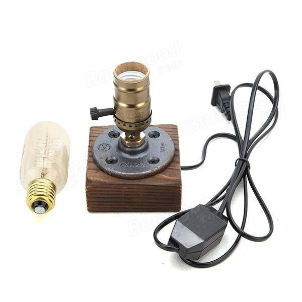 Loft Vintage T45 Edison Bulb Table Lamp Water Pipe Light Home Bar Decor Sale - Banggood.com