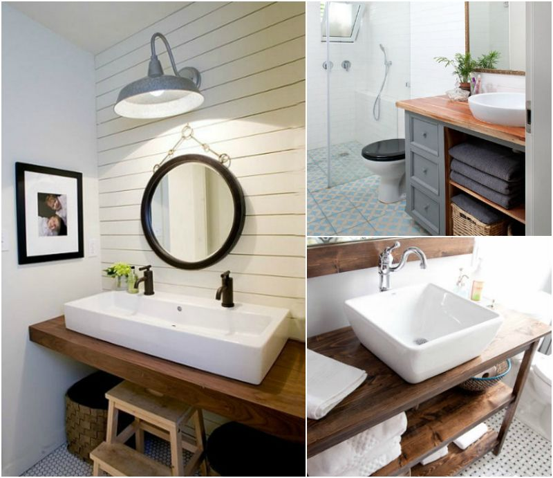 Plan de travail salle de bain en bois pour tous les styles- 20 - Stratifie Mural Salle De Bain