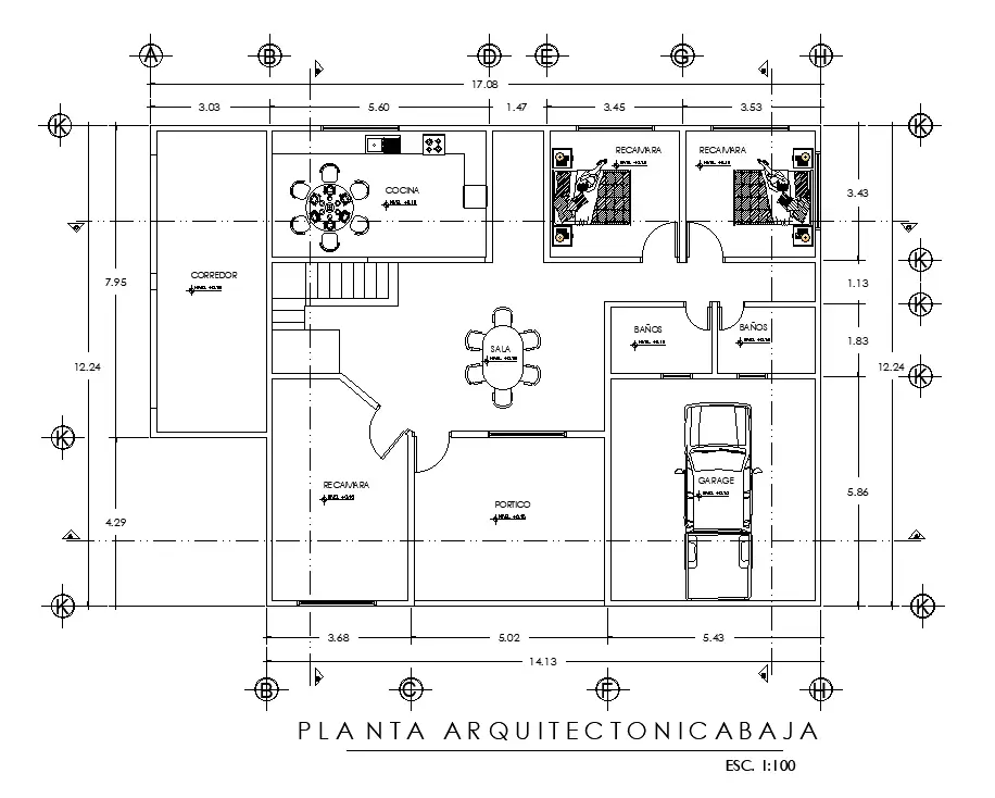 17x13m house plan is given in this AutoCAD DWG drawing file Download now