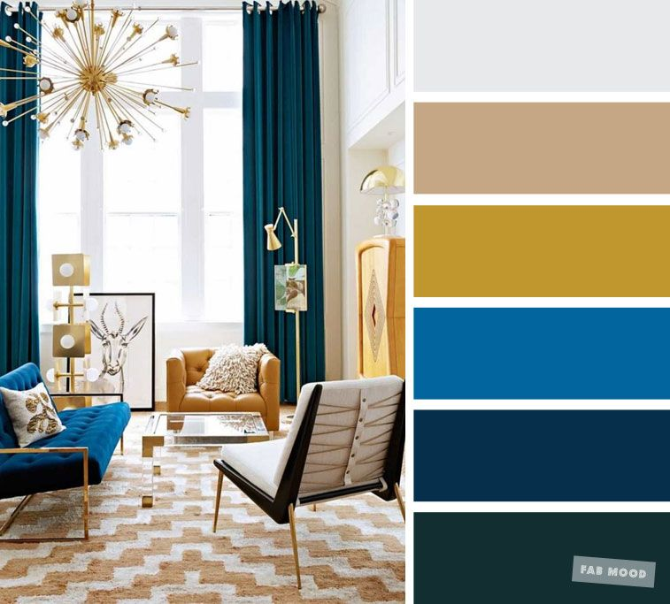 The best living room color schemes - Bright blue +teal + mustard & smokey grey images
