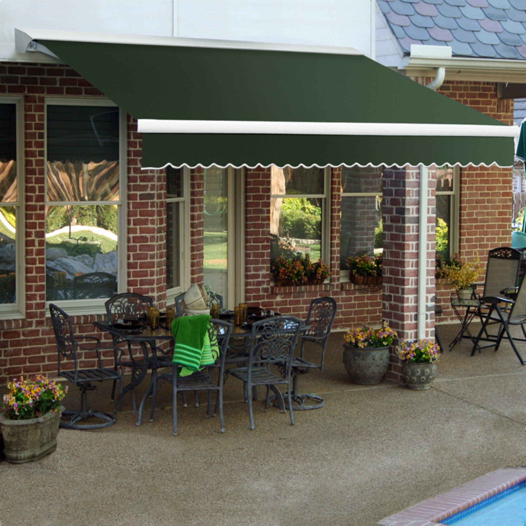 Awntech Destin 10 Ft Motorized Retractable Awning Dtl10 A Retractable Awning Patio Awning Patio