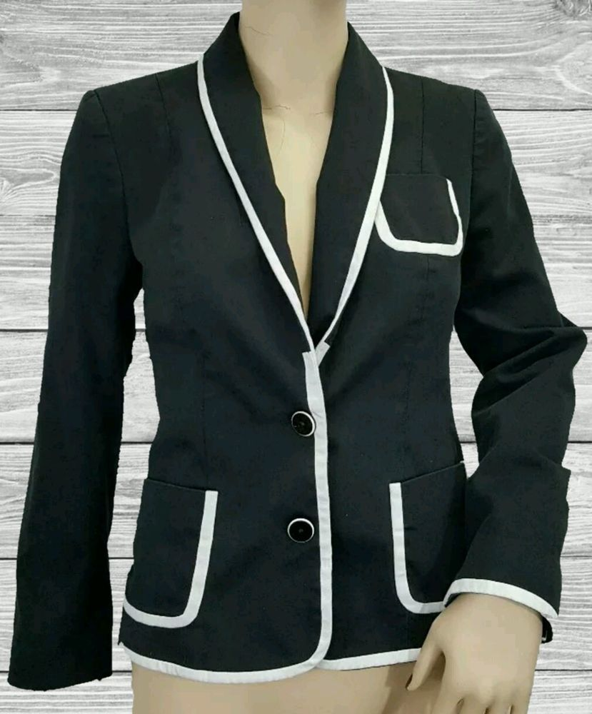 Express black sport coat white piped trim blazer work career ...