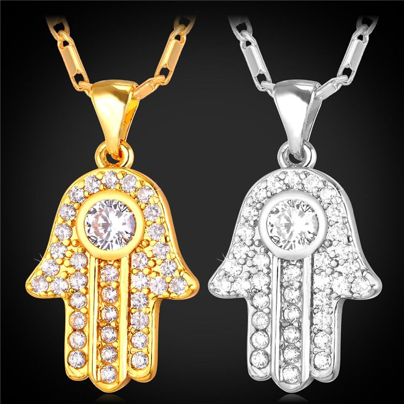 Daisy yin yang and hamsa hand triple pendant necklace claires hot hamsa hand necklace gold color cubic zirconia pendants necklaces womenmen link chain mozeypictures Gallery