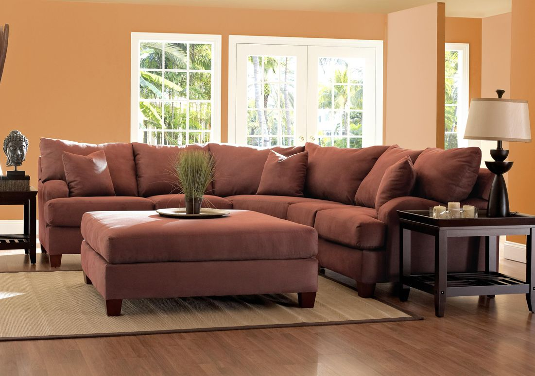 Klaussner Canyon Sectional Sofa in Sienna Microsuede