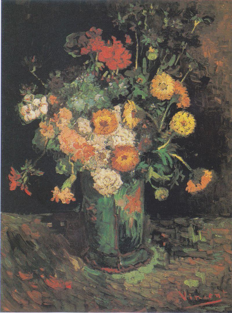 Van Gogh - Vase mit Zinnien und Geranien, 1886