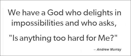 """We have a God who delights in impossibilities and who asks, """"Is anything too hard for Me?"""" – Andrew Murray"""