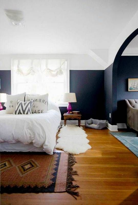 34 Ideas To Paint A Color Block Wall Navy Blue Bedrooms Bedroom