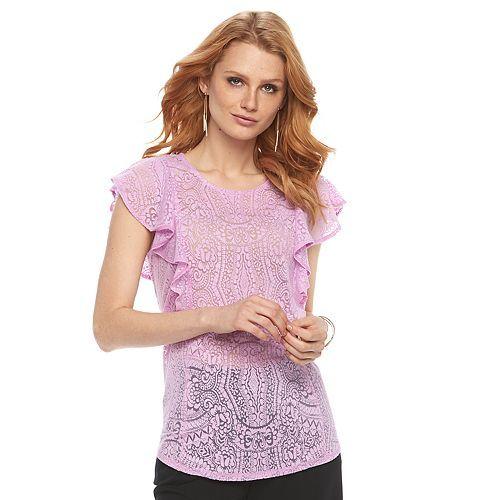 566674db Women's Apt. 9® Burnout Flutter Tee | Things to Wear | Women, Tees ...