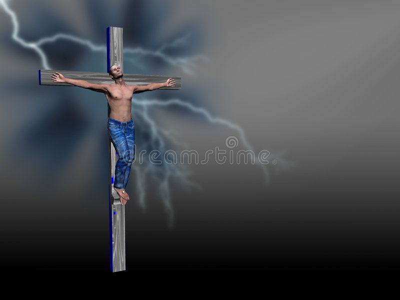 Crucifixion, easter, faith. Afro american man nailed to a cross, easter, the cru ,