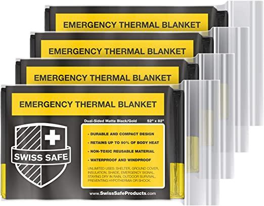Bonus Signature Gold Foil 4-Pack Swiss Safe Emergency Mylar Thermal Blankets