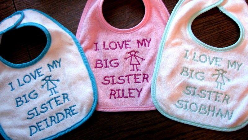 I LOVE MY BIG SIS PERSONALISED BABY BIB FUNNY CUTE CUSTOM BOYS GIRLS SISTER