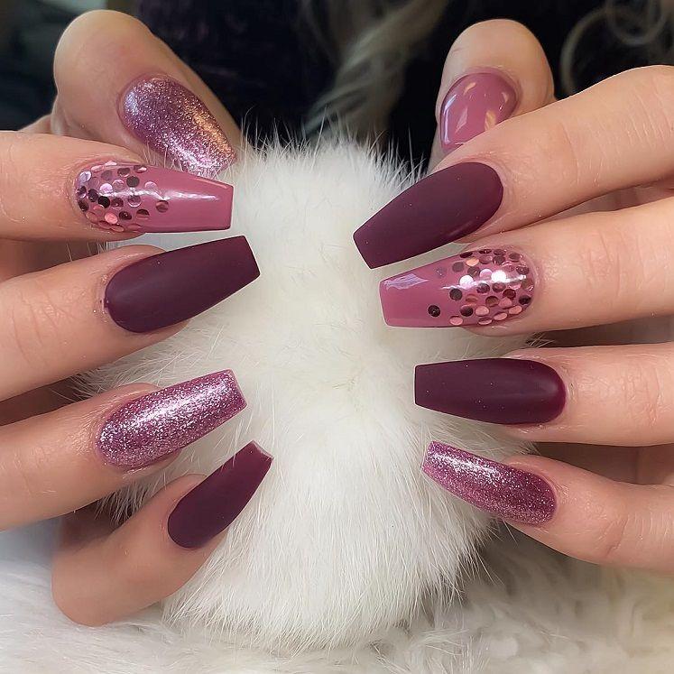 54 Beautiful and romantic nail art design ideas - mix-matched shades of purple and glitter nails, nude nails ,nail acrylic ,nails #nailart #nails #manicure #nail