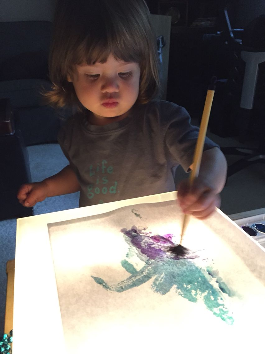 Watercolor painting on Light Table #toddlerart