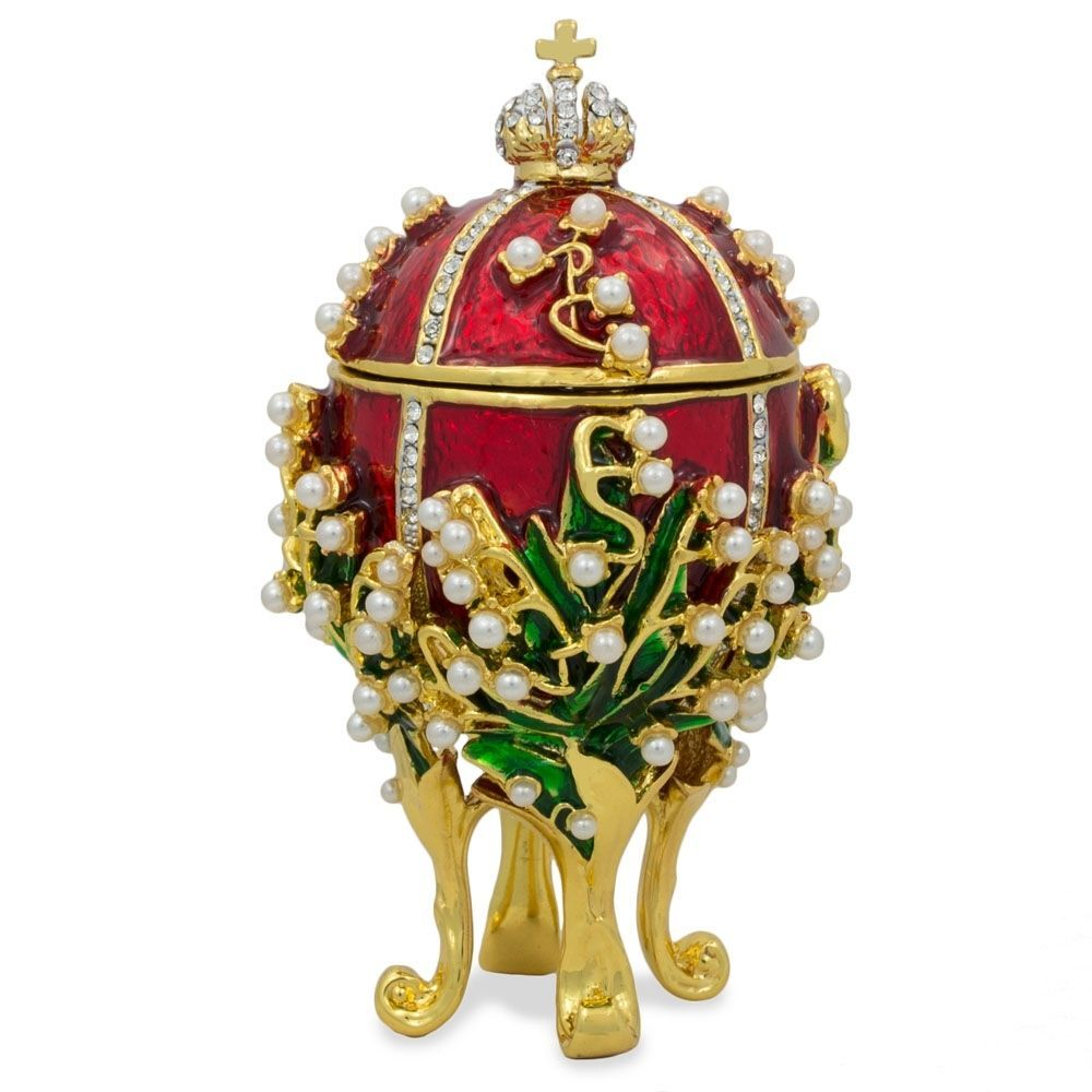 """Royal Imperial White Faberge Egg Extra Large 6.6"""" with Faberge carriage"""