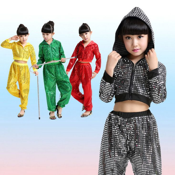 cb0bc7157 Girls Boys Sequin Ballroom Jazz Hip Hop Dance Competition Costume ...