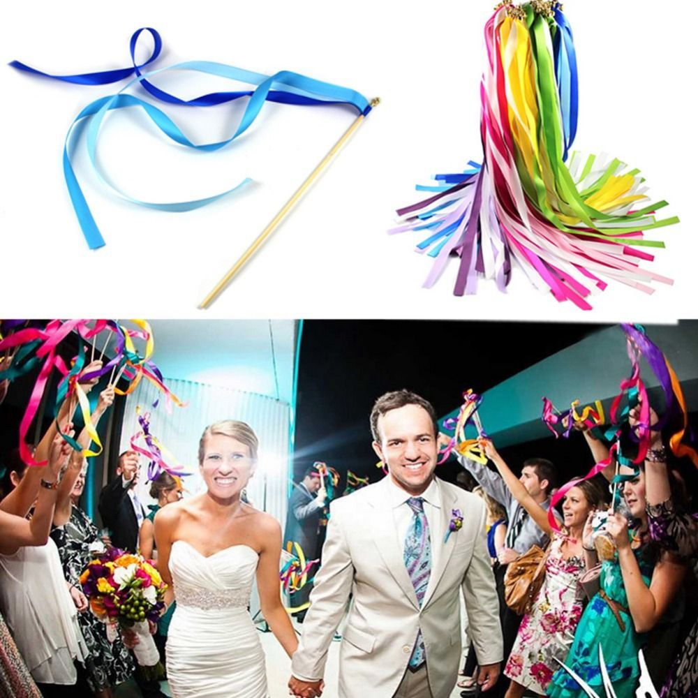 10pieces Multicolor Wedding Confetti Twirling Stream Ribbon Sticks Wands With Bell Garland Party Favor Supplies