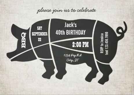 vintage classic minimalist black and white pig roast invitations