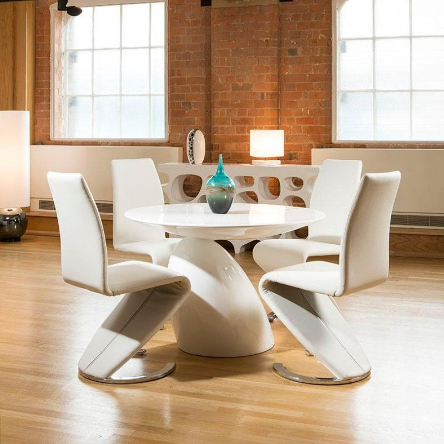 parabel style round dining table white gloss plus four white z shape chairs modern parabel. beautiful ideas. Home Design Ideas