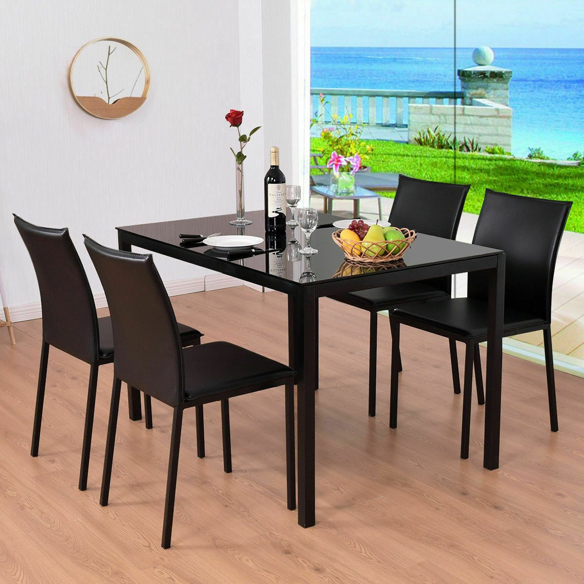 5 Piece Dining Set Glass Top Table And 4 Pu Chairs Kitchen