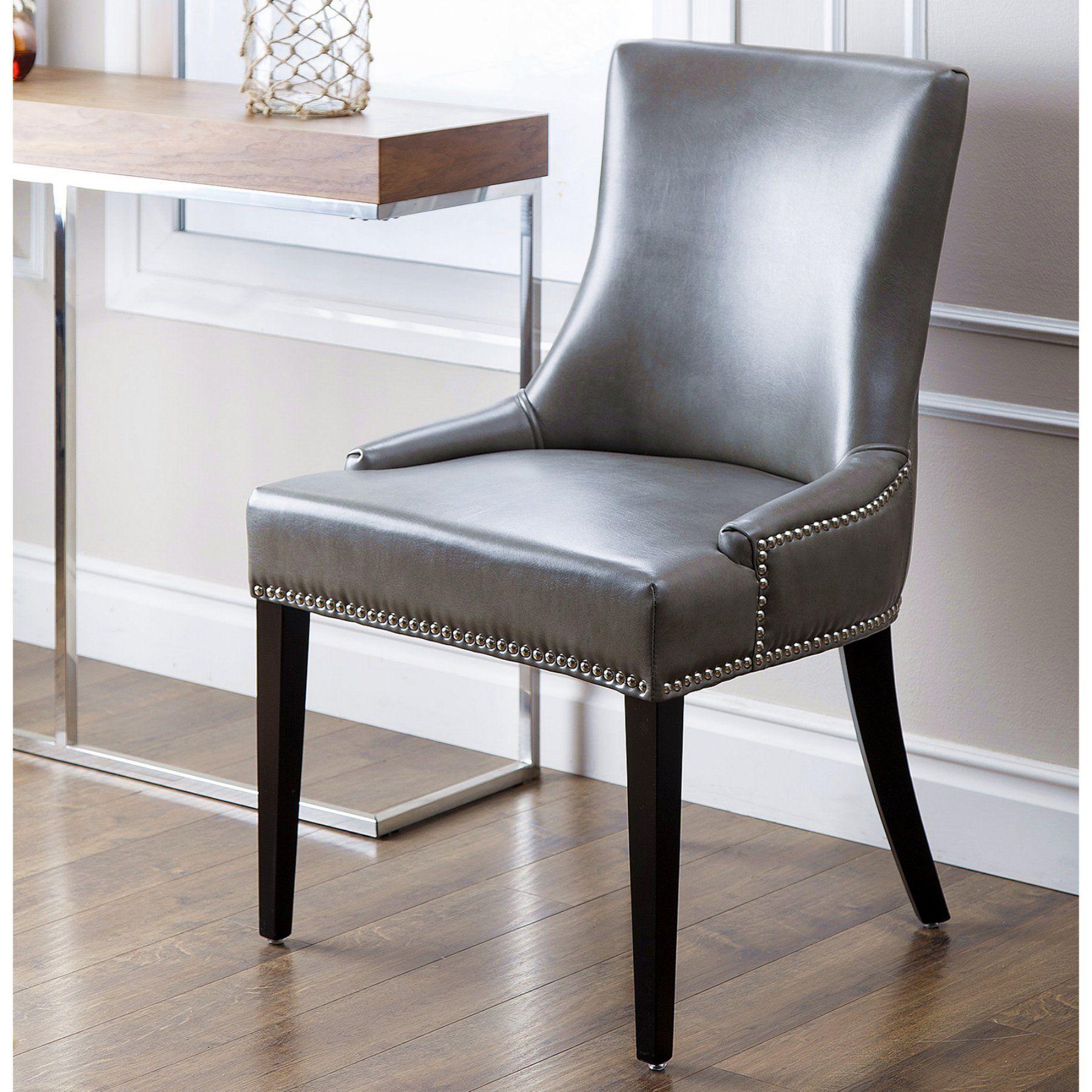 the best attitude 7801b b9715 Abbyson Sienna Leather Nailhead Trim Dining Chair - HS-DC ...