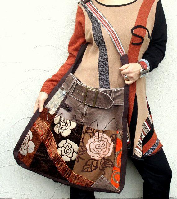 Fantasy hippie patchwork bag recycled | Handtasche nähen, Flower ...