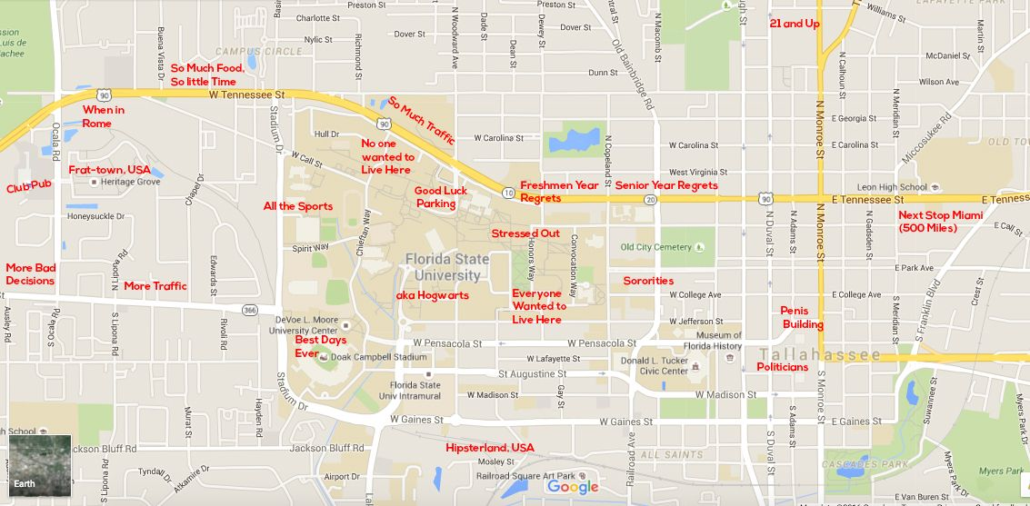 Florida State University Campus Map.Pin By The Black Sheep On Judgmental Maps Of College Campuses
