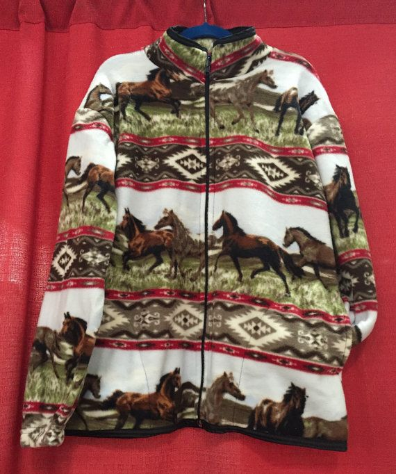 8836cfc3f8e4 ZooFleece Comfortable Equestrian Red Aztec Horses Fleece Jacket ...