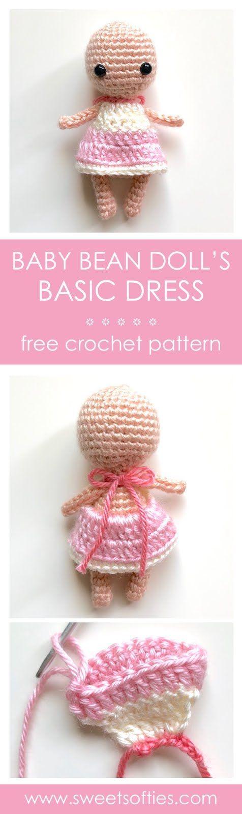 Free amigurumi crochet pattern: Basic Dress for Baby Bean Doll Base #sweetsofties #yarn #art #craft #crochet #diy #tutorial #pattern #free #cute #beginner #beginners #gift #crochetideas #easy #amigurumi #gift #crochetdoll #amigurumidoll #doll #toy #girl #boy #play #mini #miniature #handmade #freecrochetpattern #freeamigurumipattern #clothing #dress #dollclothes