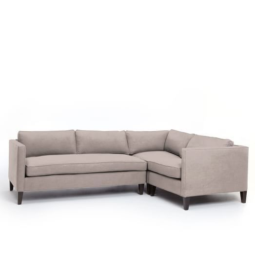 west elm dunham sofa reviews cheap leather beds uk down filled 3 piece sectional box cushion