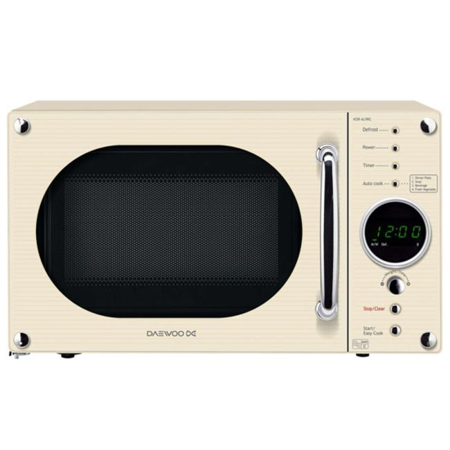 Daewoo Kor6n9rc Compact Microwave Oven In Cream 20l 800w