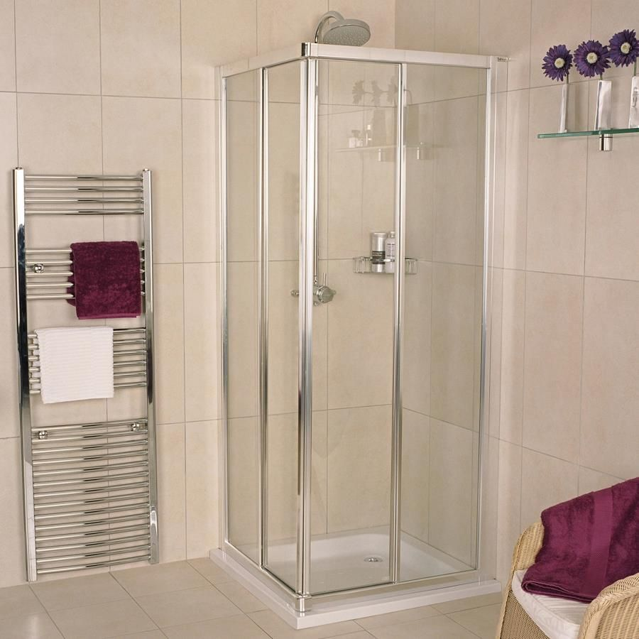Bath With a Corner Shower Enclosure | beach place | Pinterest ...