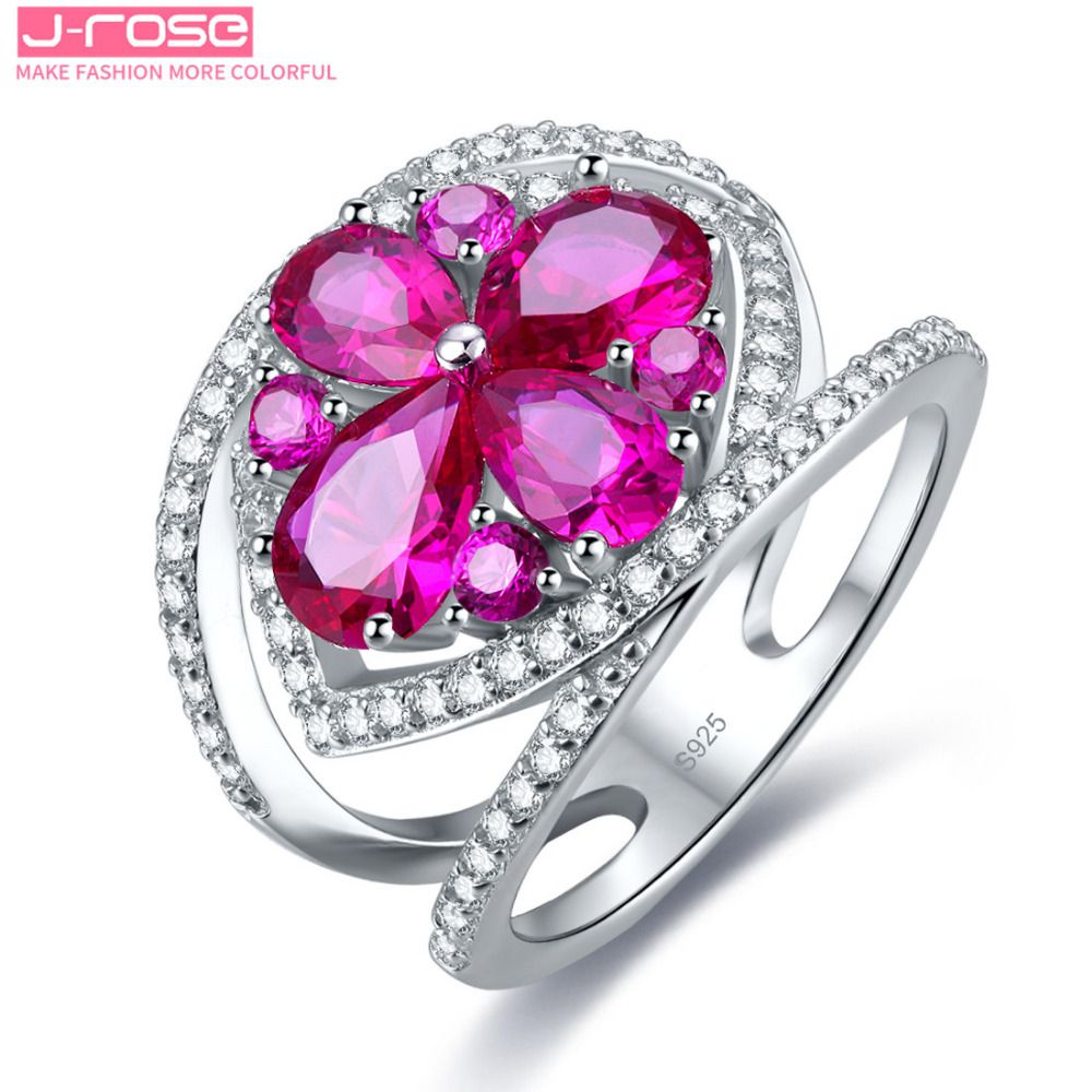 Jrose Genuine 925 Sterling Silver Wedding 2.45ct Red Natural ...