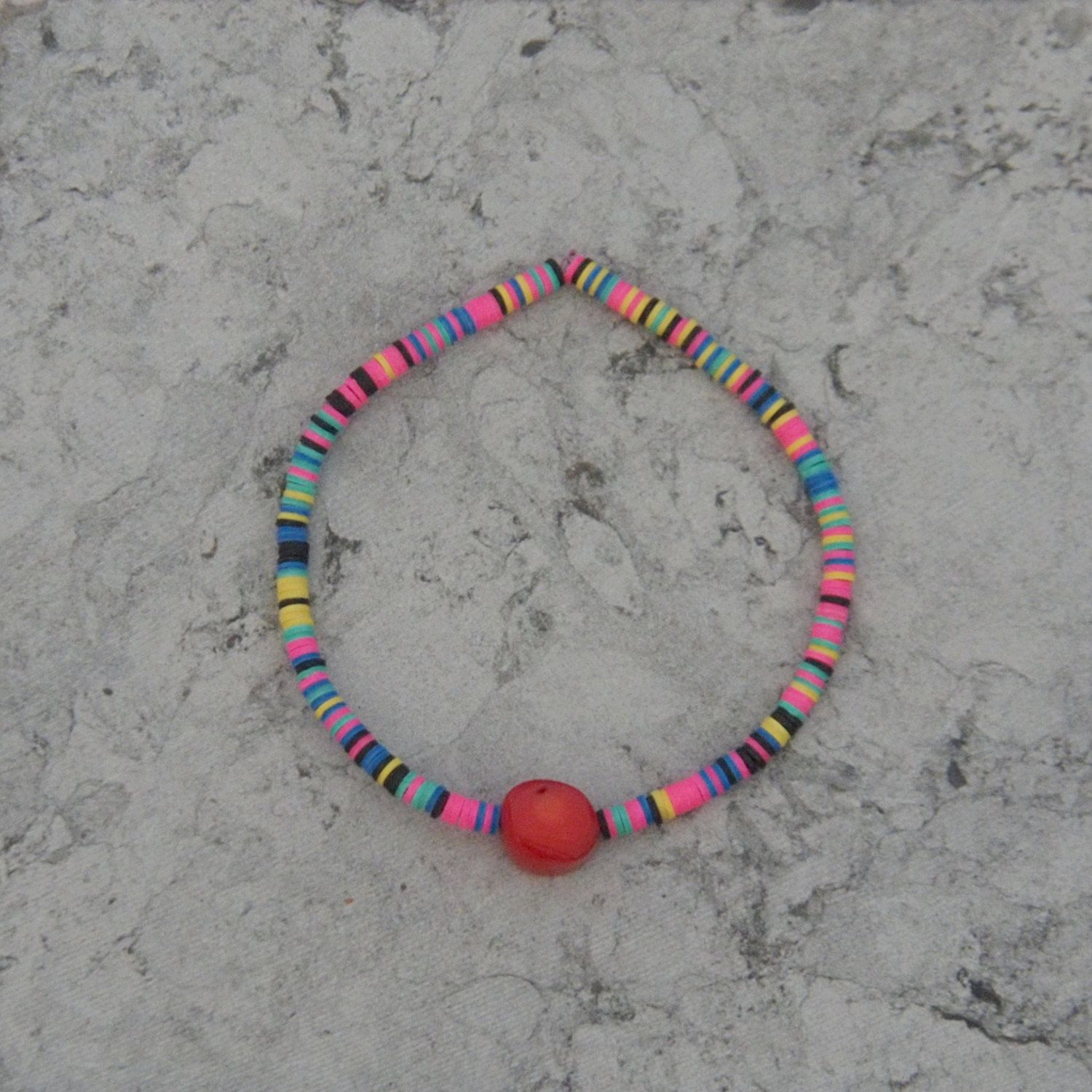 African Pop Bracelet / Multi Mixed Disc Beads / African Vinyl / Tribal Beads / Coral / Pop Art / Neon / Boho / Stacking / Summer / Friends by saltrabbit on Etsy