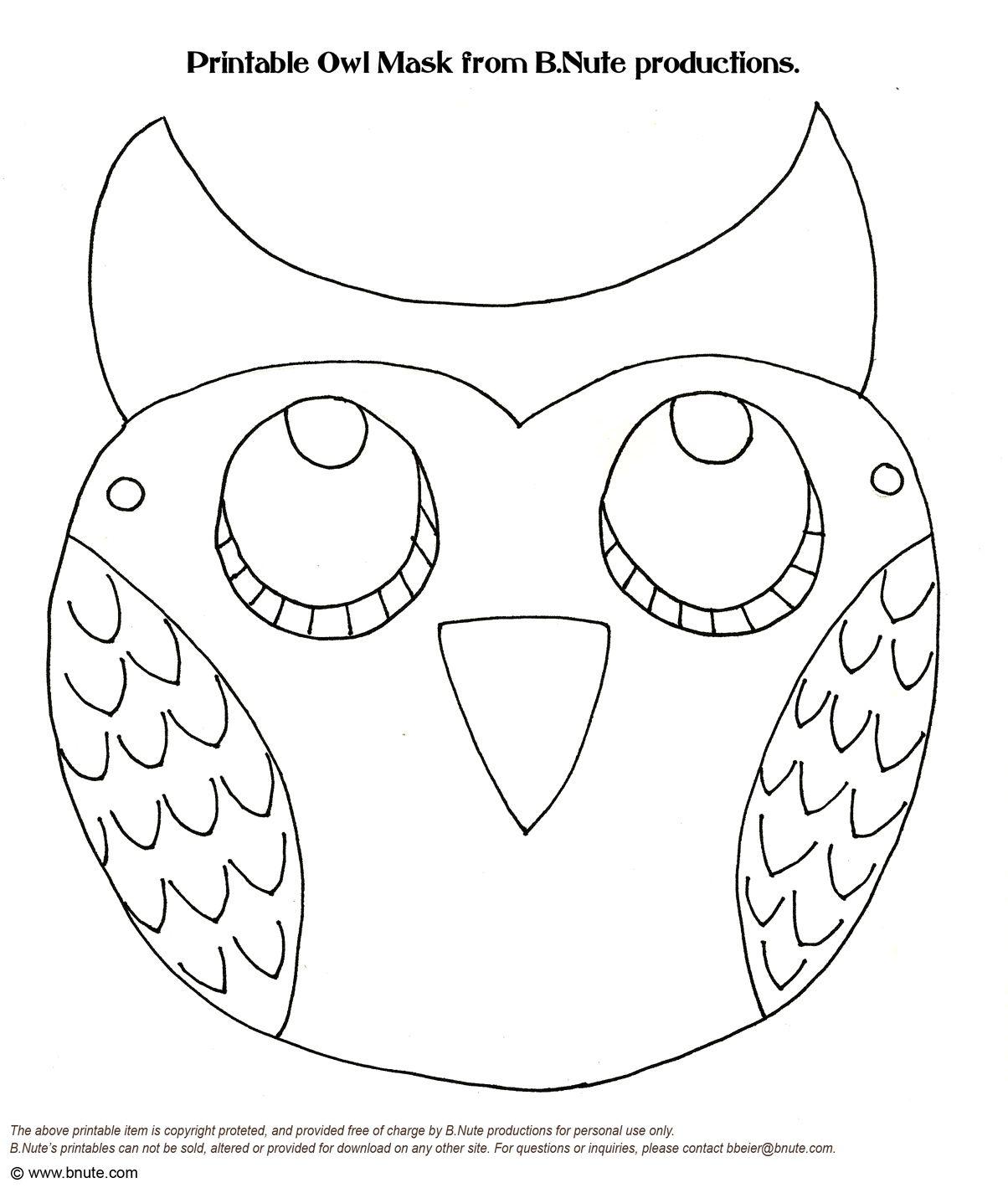 printable owl masks Grace Bartlett and Kristen Gensler