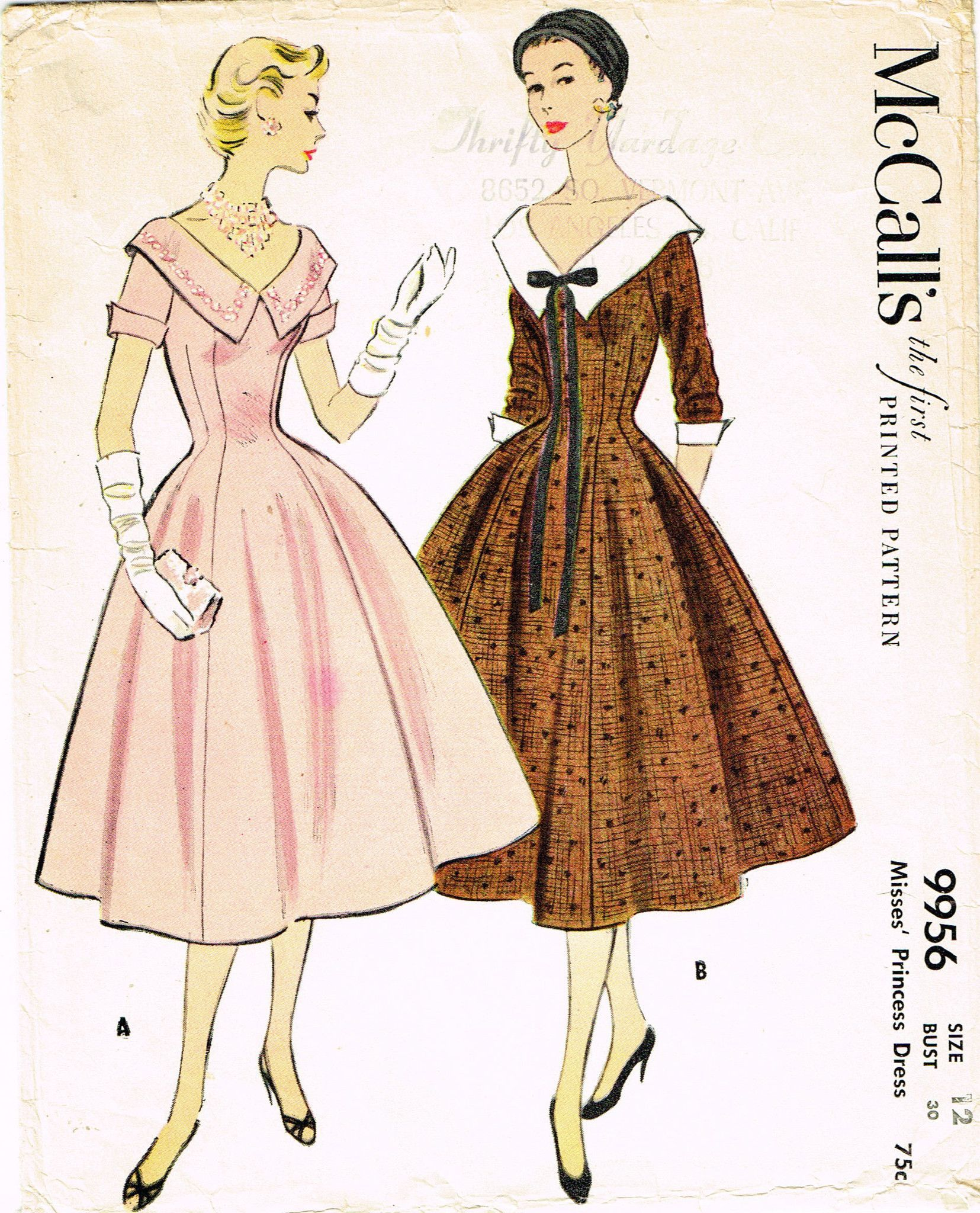 1950s Vintage Misses Dress 1954 McCalls VTG Sewing Pattern 9956 ...