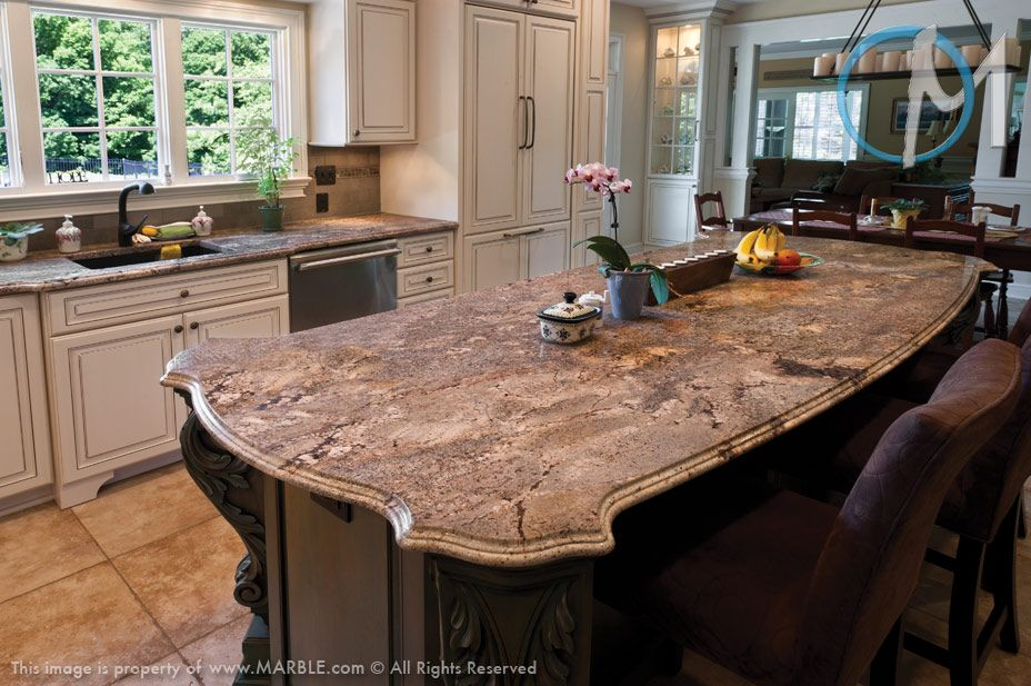 Ibere Crema Bordeaux Is The Granite Used On Both The Island And Main  Counters Of This