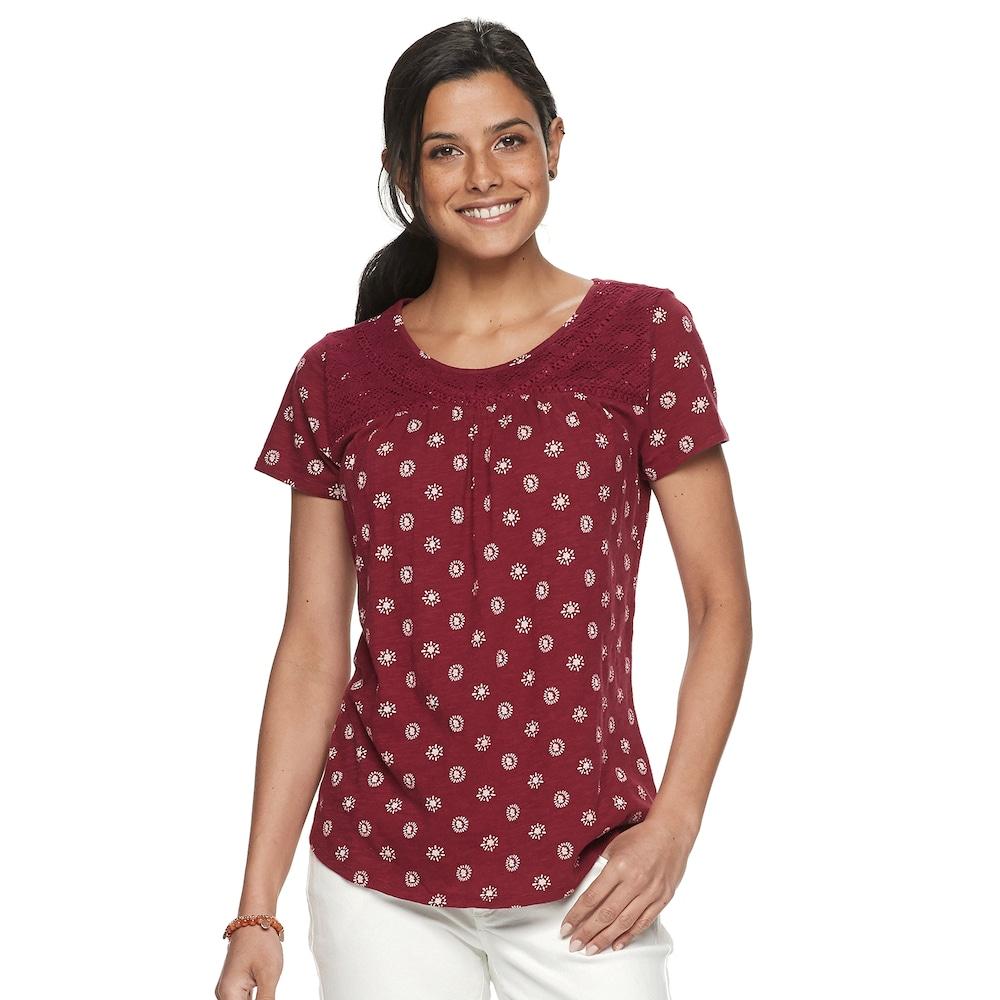 "ab2f45b76506d3 Petite SONOMA Goods for Lifeâ""¢ Print Lace-Yoke Top, Women's, Size: L Petite,  Dark Red"